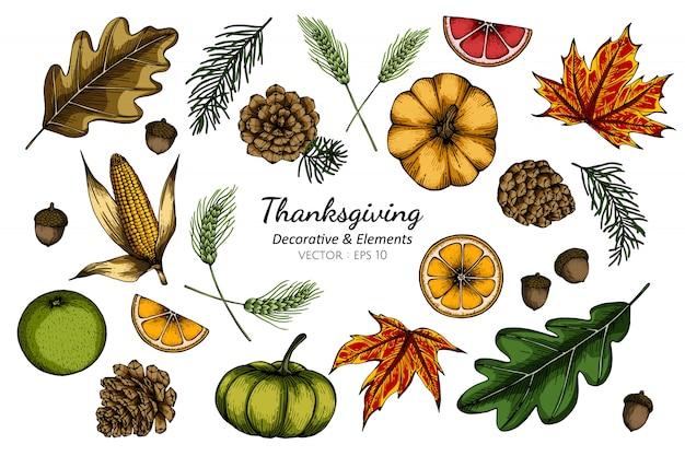 Insieme della raccolta del fiore e delle foglie decorativi di ringraziamento che disegnano illustrazione. Vettore Premium