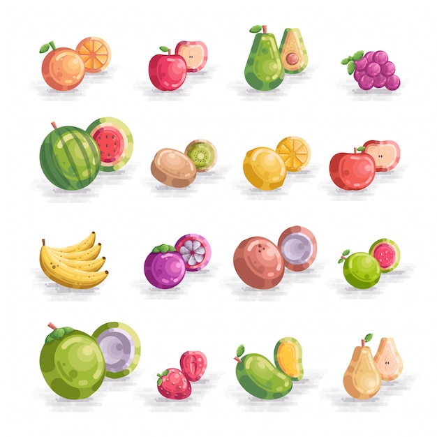 Insieme della raccolta dell'illustrazione dell'icona di vettore di frutti Vettore Premium