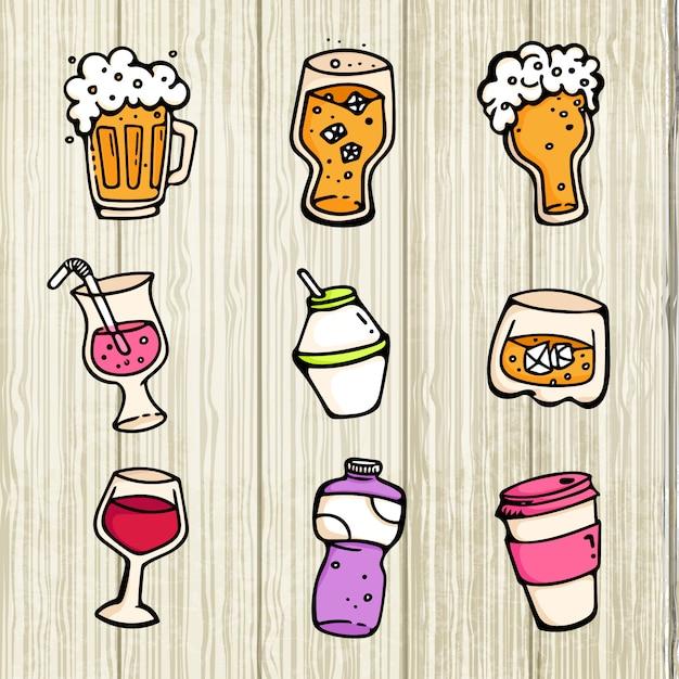 Insieme della raccolta di vetro e della tazza della bevanda del fumetto sveglio del vino della birra dell'alcool Vettore Premium