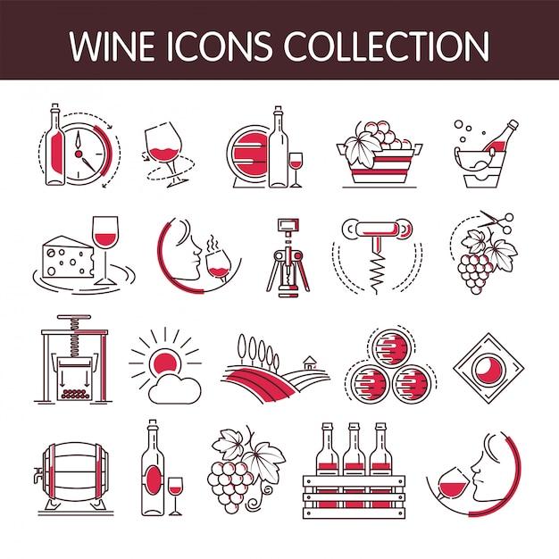 Insieme della raccolta di vettore delle icone del vino per industria di produzione vinicola o della cantina Vettore Premium