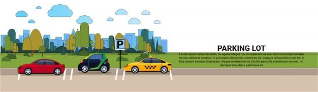 Insieme delle automobili sul parcheggio della città sopra l'insegna orizzontale del fondo delle costruzioni della siluetta Vettore Premium