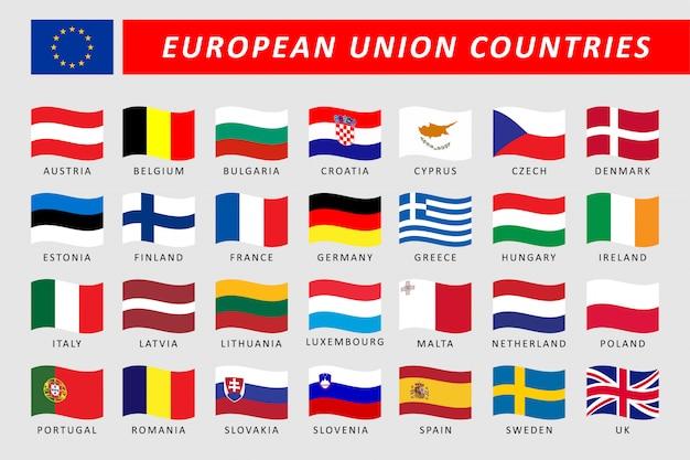 Insieme delle bandiere dell'onda di paesi dell'unione europea Vettore Premium