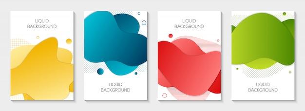 Insieme delle bandiere liquide grafiche moderne astratte Vettore Premium