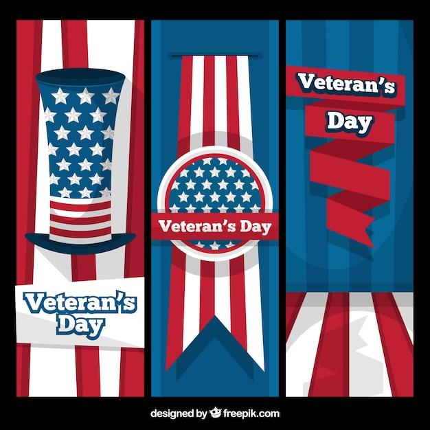 Insieme delle bandiere piatte per i veterani giorno - Papaveri e veterani giorno di papaveri e veterani ...