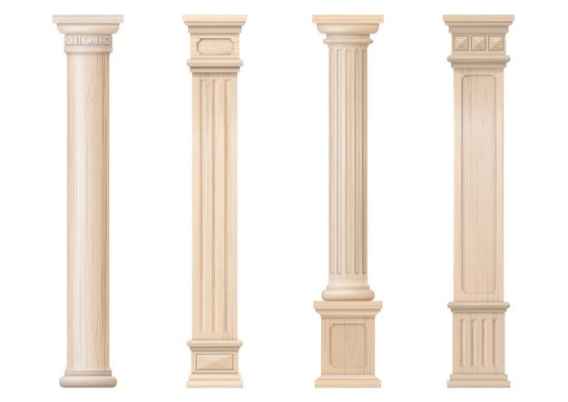 Insieme delle colonne di legno classiche di vettore Vettore Premium