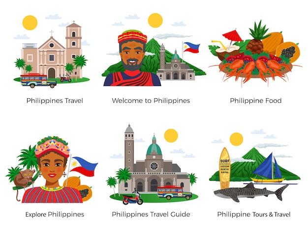 Insieme delle composizioni di viaggio delle filippine con il vestito nazionale dell'alimento di architettura e la vita selvaggia isolati Vettore gratuito