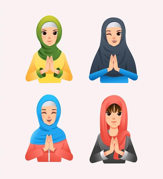 Insieme delle donne musulmane che indossano hijab con stile differente e l'illustrazione differente di espressione facciale Vettore Premium