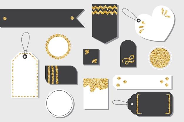 Insieme delle etichette del contenitore di regalo o delle etichette di acquisto di vendita isolate in bianco con la corda Vettore Premium