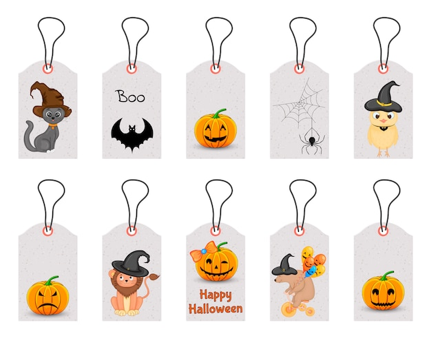 Insieme delle etichette di halloween per i beni di festa su un fondo bianco. stile cartone animato. . Vettore Premium