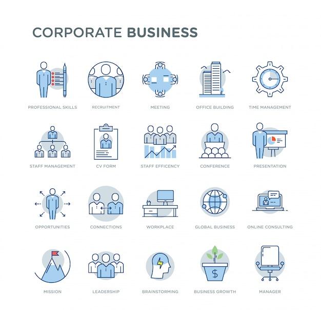 Insieme delle icone colorate di vettore relative affare corporativo. contiene icone quali abilità professionali, crescita aziendale, reclutamento, consulenza online, leadership Vettore Premium