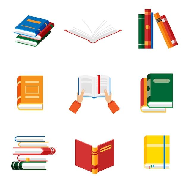 Insieme delle icone del libro nel libro della tenuta delle mani isolato stile piano. taccuino e diario aperti con segnalibri a colori. Vettore Premium