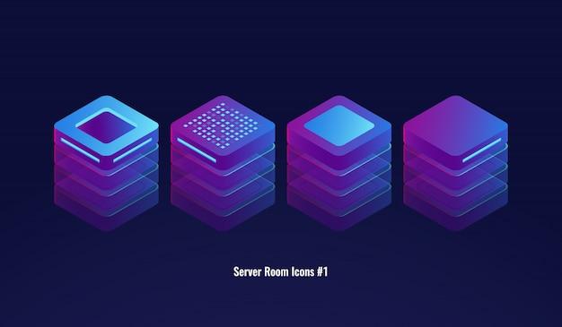 Insieme delle icone della stanza del server, del database 3d e del concetto del centro dati, oggetto di tecnologia della luce Vettore gratuito