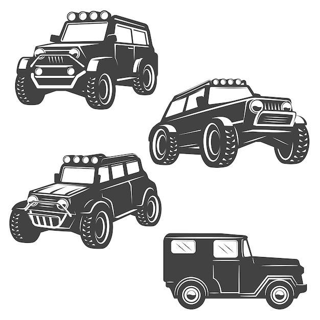 Insieme delle icone delle automobili della strada su fondo bianco. immagini per, etichetta, emblema. illustrazione. Vettore Premium
