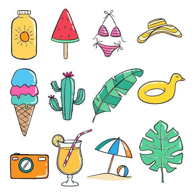Insieme delle icone di estate di doodle su fondo bianco Vettore Premium