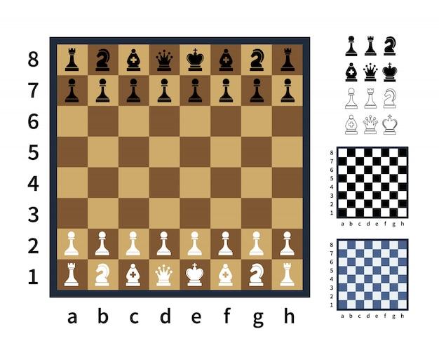 Insieme delle icone di scacchi e diverse scacchiere su bianco Vettore Premium