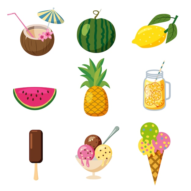 Insieme delle icone estive carina tropicale, frutta, stile di cartone animato tropicale cocktailes gelato, isolato Vettore Premium