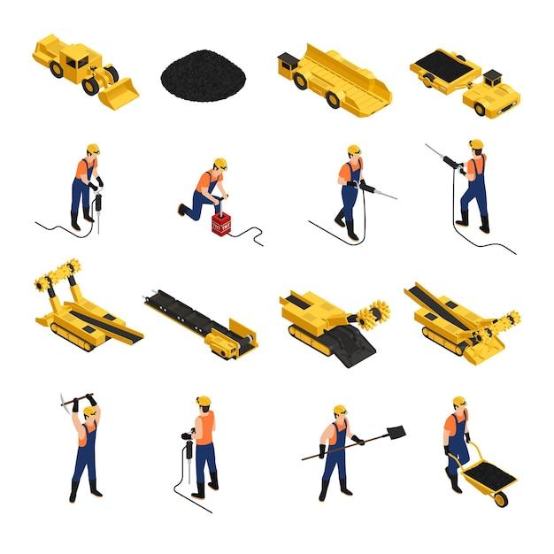Insieme delle icone isometriche minatori di produzione di carbone con attrezzi da lavoro e veicoli minerari isolati Vettore gratuito