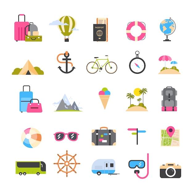 Insieme delle icone per la vacanza attiva di turismo e di viaggio, concetto di festa di ricreazione della spiaggia del mare Vettore Premium