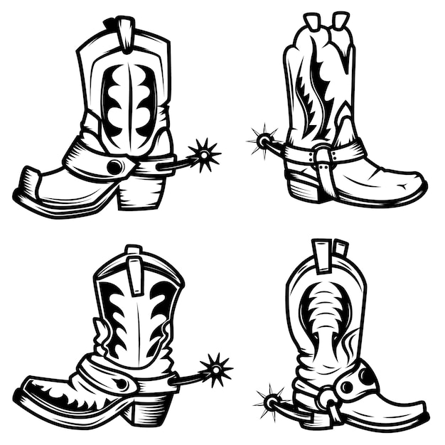 Insieme delle illustrazioni di stivali da cowboy. elementi per logo, etichetta, emblema, segno, distintivo. illustrazione Vettore Premium