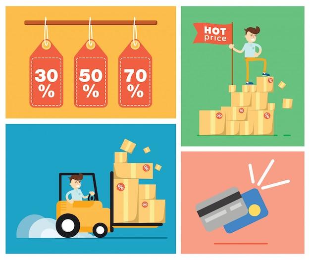 Insieme delle illustrazioni di vendita di sconto Vettore Premium