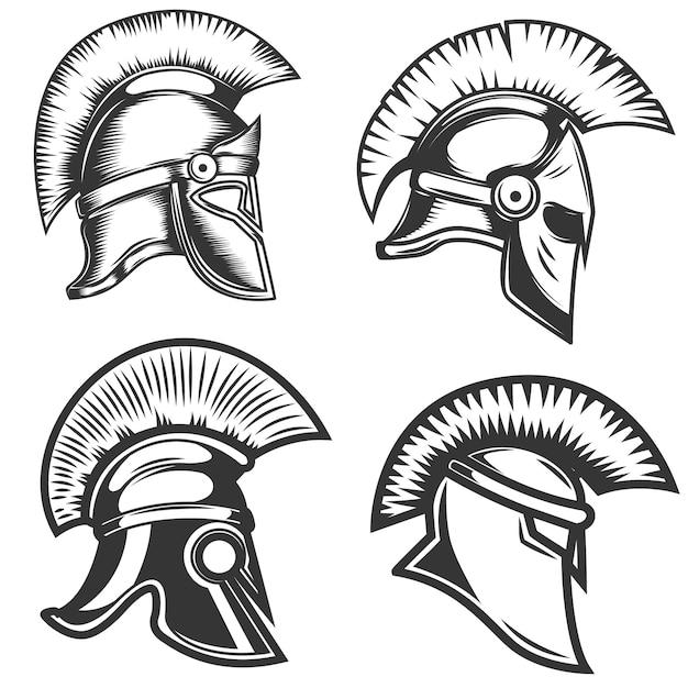 Insieme delle illustrazioni spartane dei caschi su fondo bianco. elementi per logo, etichetta, emblema, segno. illustrazione Vettore Premium