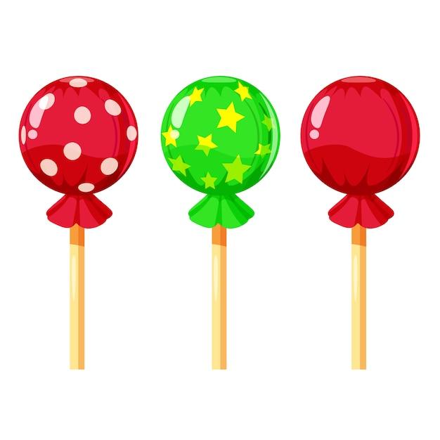 Insieme delle lecca-lecca variopinte, caramelle dolci, illustrazione di vettore, stile del fumetto Vettore Premium