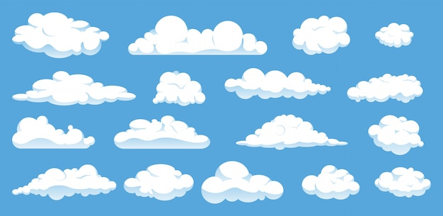 Insieme delle nuvole differenti del fumetto isolate su cielo blu. Vettore Premium