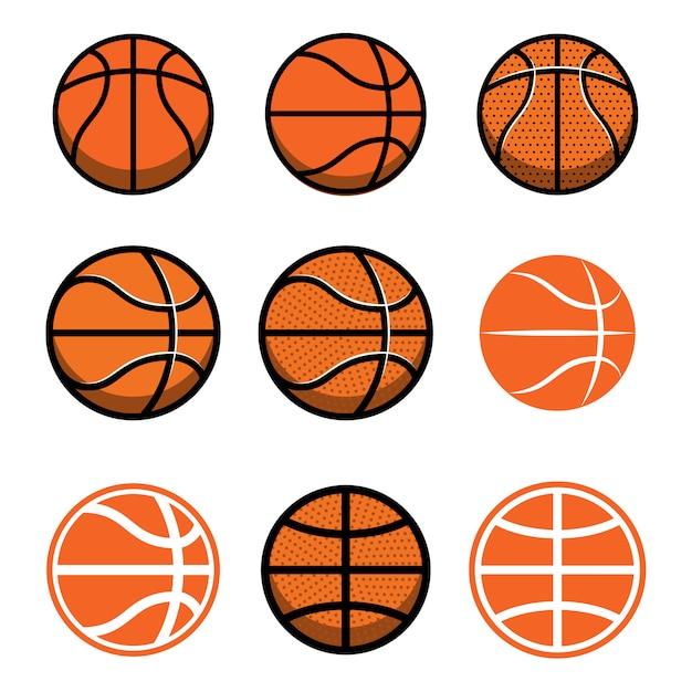 Insieme delle palle di pallacanestro su fondo bianco. elemento per poster, logo, etichetta, emblema, segno, maglietta. illustrazione Vettore Premium