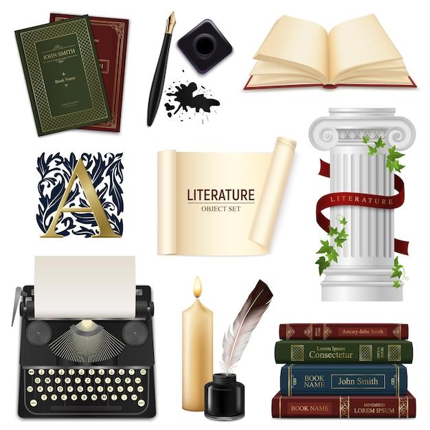 Insieme delle penne realistiche degli oggetti della letteratura con i libri d'annata e la macchina da scrivere del calamaio isolati Vettore gratuito