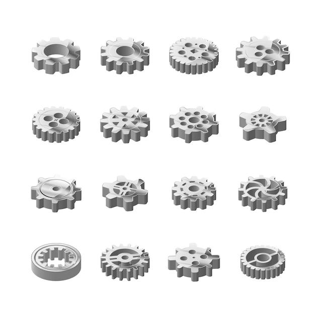 Insieme delle ruote dentate lucide del metallo nella vista isometrica su bianco Vettore Premium