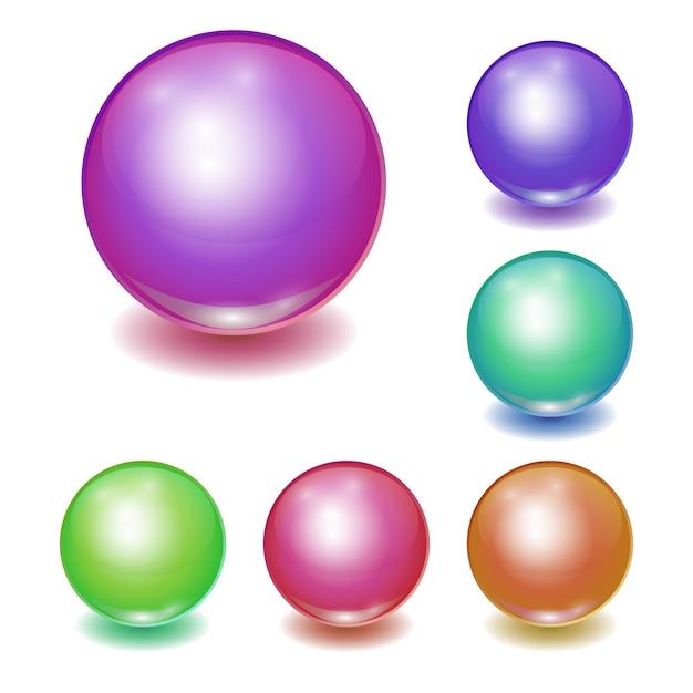 Insieme delle sfere multicolori realistiche di vettore Vettore Premium