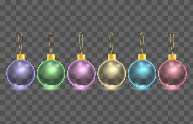 Insieme delle sfere trasparenti dell'albero di natale di vetro di colore Vettore Premium