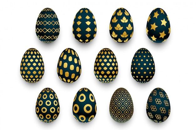 Insieme delle uova di pasqua nere e dorate del modello Vettore gratuito