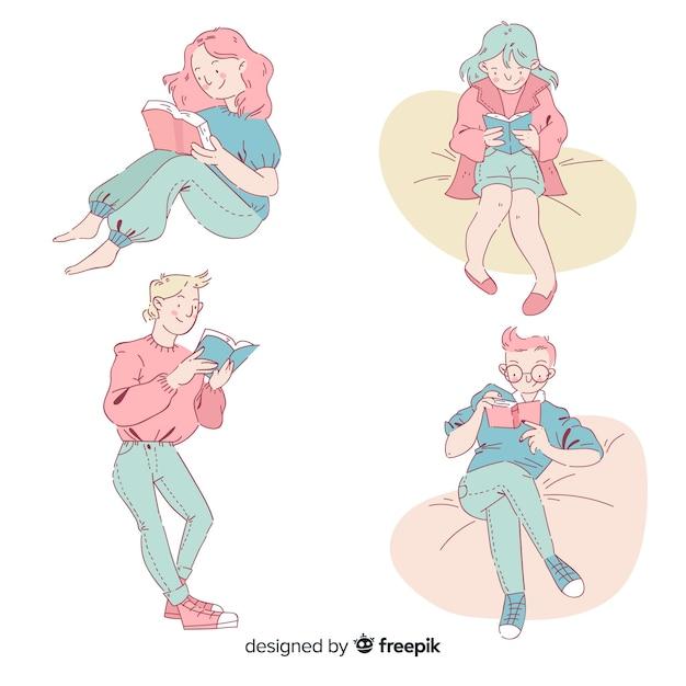 Insieme di adolescenti che leggono nello stile di disegno coreano Vettore gratuito