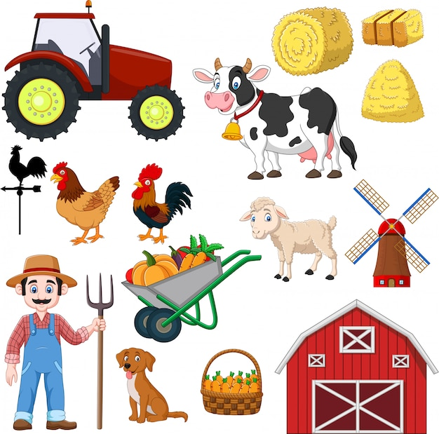 Insieme di agricoltura del fumetto su un bianco Vettore Premium
