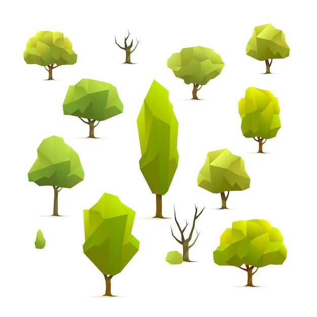 Insieme di alberi geometrici poligonali, illustrazione vettoriale Vettore Premium