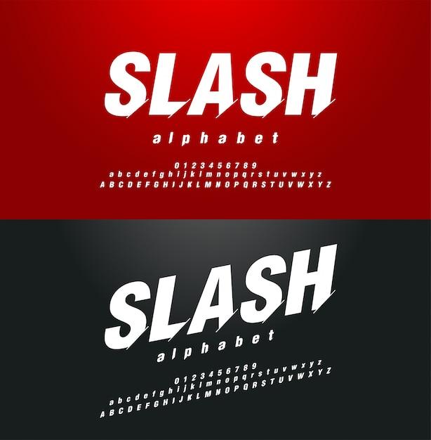 Insieme di alfabeto di numeri di carattere astratto moderno in corsivo Vettore Premium