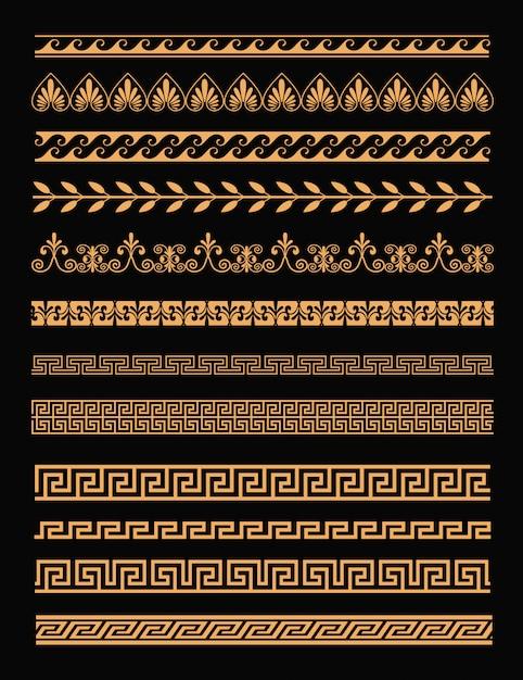 Insieme di antichi bordi greci e ornamenti senza soluzione di continuità in colore dorato su sfondo nero in stile piano. elementi concettuali della grecia. Vettore Premium