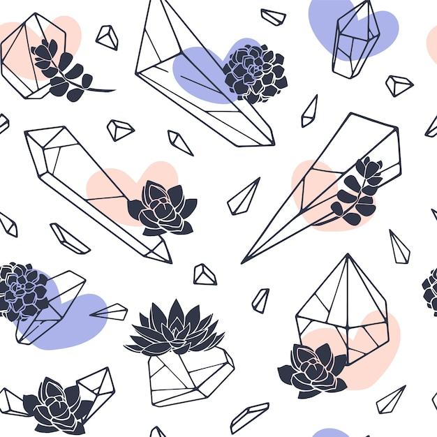 Insieme di arte linea disegnata a mano minerali Vettore Premium