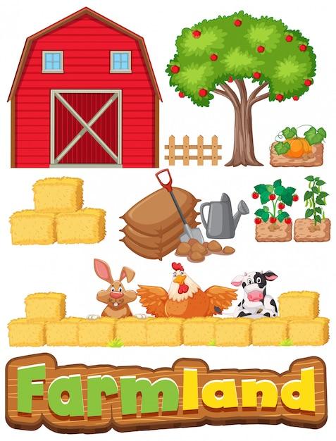 Insieme di articoli di fattoria e molti animali Vettore gratuito