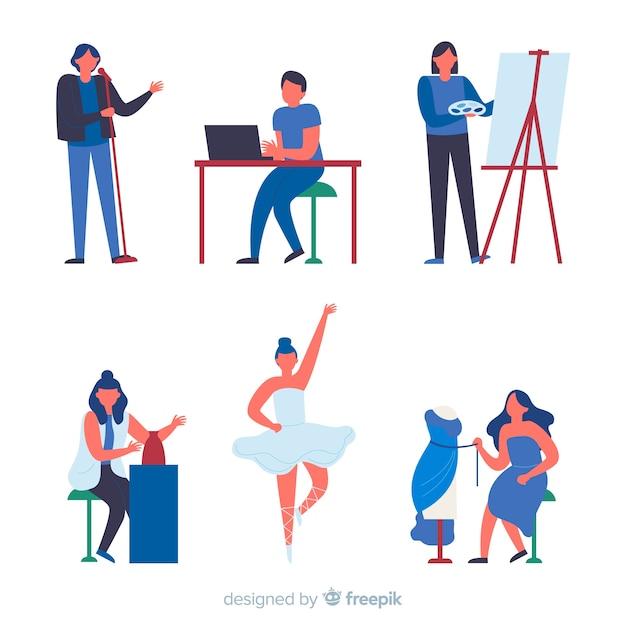 Insieme di artisti di diverse discipline. pittore, ballerino, artigiano e stilista Vettore gratuito