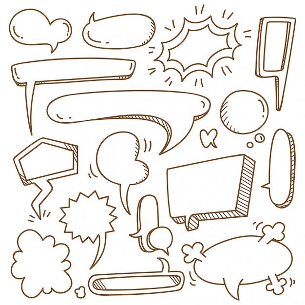 Insieme di bolla di discorso carino in stile doodle Vettore Premium
