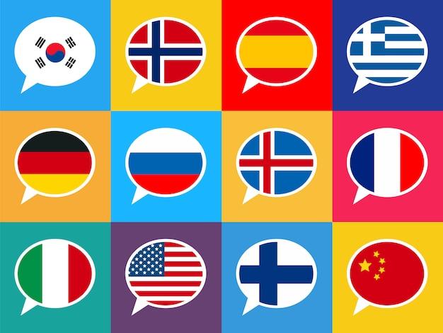 Insieme di bolle di discorso colorato con bandiere di paesi diversi. illustrazione di lingue. Vettore Premium