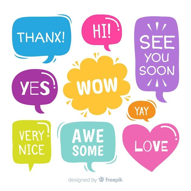 Insieme di bolle di discorso con brevi messaggi Vettore gratuito