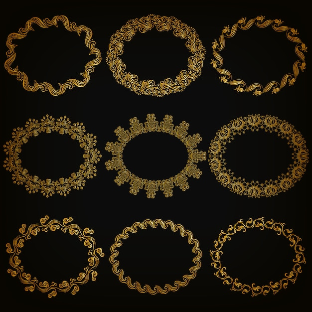 Insieme di bordi e cornice ornamentali decorativi oro Vettore Premium