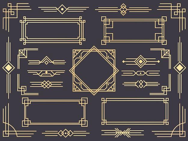 Insieme di bordo di linea art deco, ornamenti dorati, separatori e cornici in stile gatsby Vettore Premium