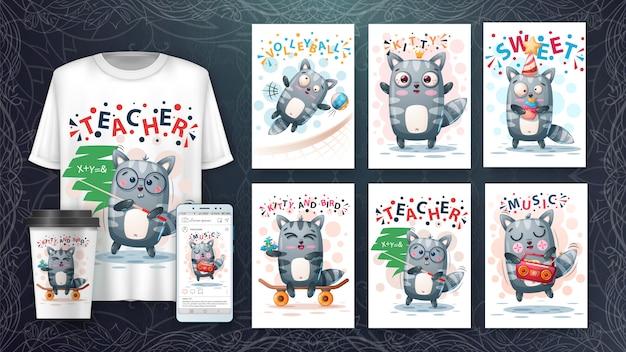Insieme di carta animale e merchandising dell'illustrazione animale procione sveglio. Vettore Premium