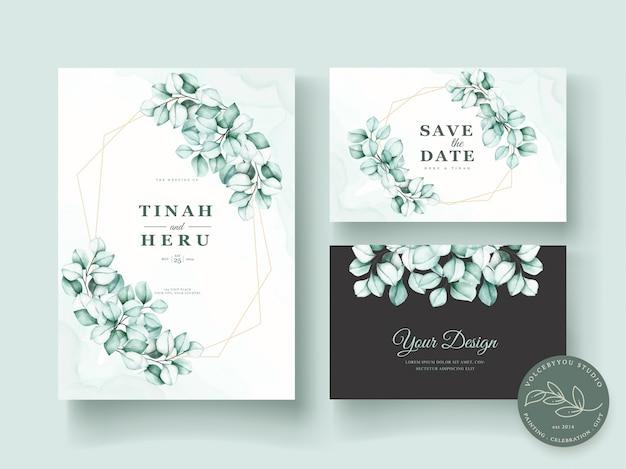 Insieme di carta dell'invito di nozze dell'eucalyptus dell'acquerello Vettore gratuito