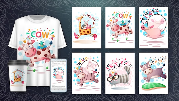Insieme di carta e merchandising di salto svegli dell'illustrazione degli animali. Vettore Premium