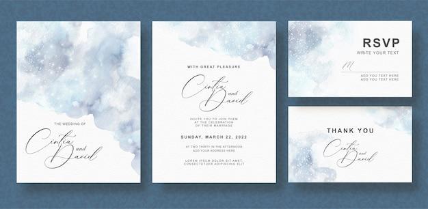 Insieme di carta grigio dell'invito di nozze dell'acquerello della spruzzata Vettore Premium